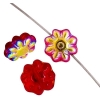 Glass Daisy 9mm Siam Ruby Aurora Borealis Strung Bead